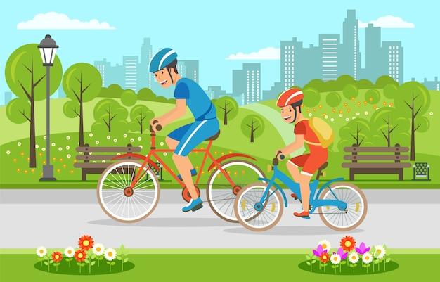 Karikaturvater mit dem sohn, der auf fahrräder im park fährt Premium Vektoren