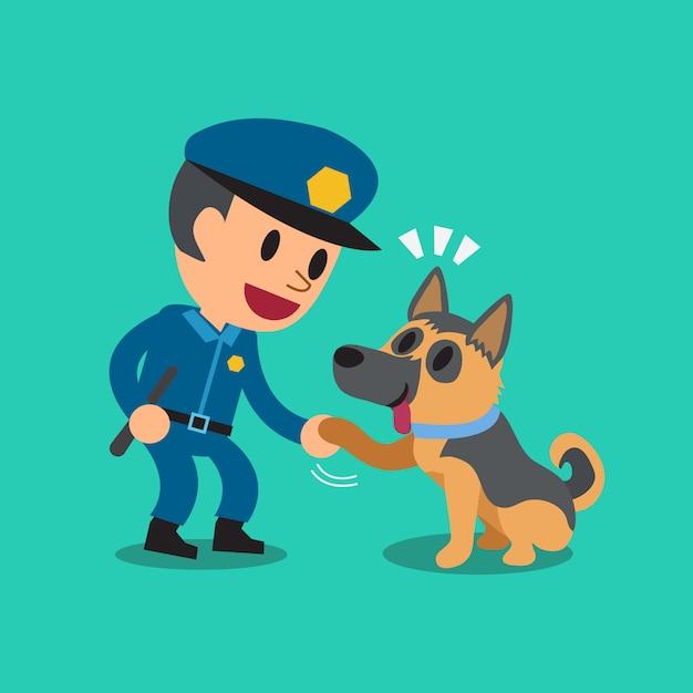 Karikaturwächterpolizist mit polizeischutzhund Premium Vektoren