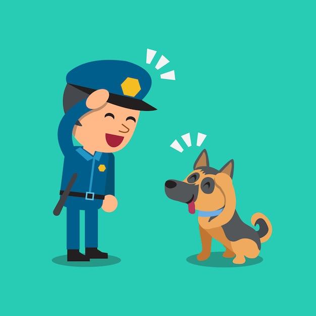Karikaturwächterpolizist mit seinem wachhund Premium Vektoren