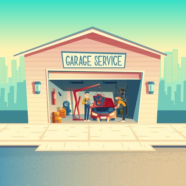 Karikaturwerkstatt mit der mechanikermannschaft, die motor installiert. auto reparieren, fahrzeug in der garage reparierend Kostenlosen Vektoren
