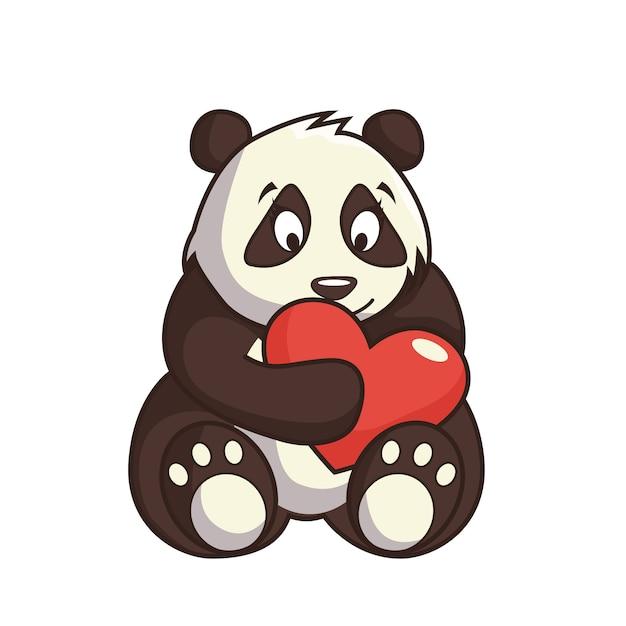 Karikaturzeichnung des zarten bärenpandas Premium Vektoren
