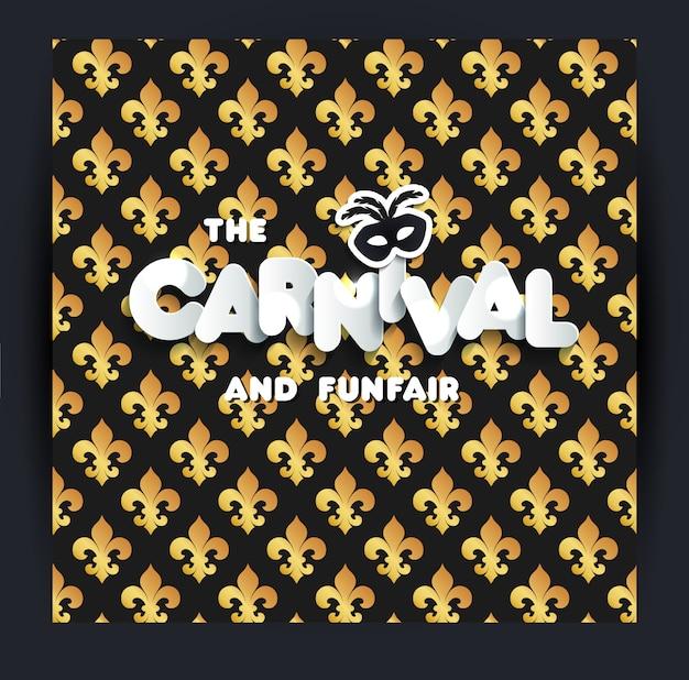 Karneval-dekoration. nahtloses muster auf schwarzem Premium Vektoren