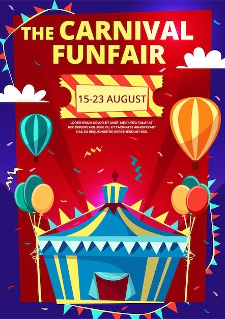 Karneval Funfair Einladungsplakat, Banner oder Flyer mit Zirkuszelt Kostenlose Vektoren