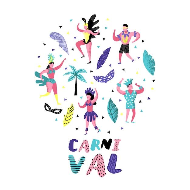 Karneval gekritzel mit tanzenden charakter menschen Premium Vektoren