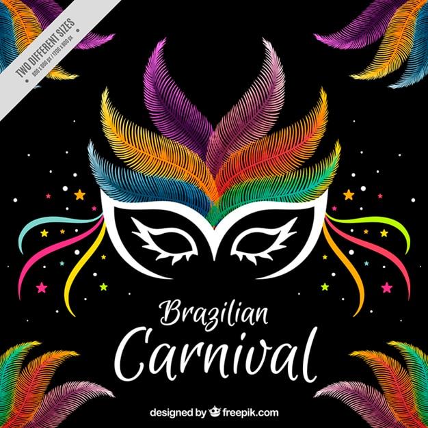 Karneval hintergrund mit bunten federn maske Kostenlosen Vektoren