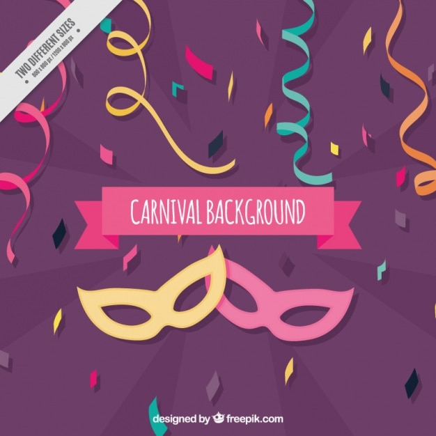 Karneval hintergrund mit masken und serpentin Kostenlosen Vektoren