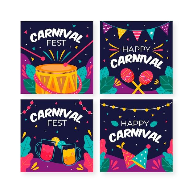Karneval instagram beitragssammlung der musikinstrumente Kostenlosen Vektoren