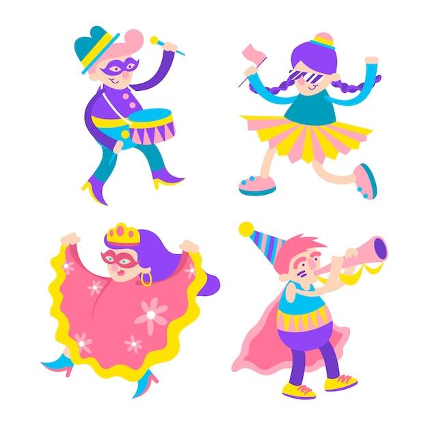 Karneval junge tänzer in bunten kostümen Kostenlosen Vektoren