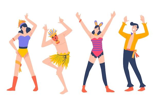 Karneval junge tänzer mit masken und kostümen Kostenlosen Vektoren