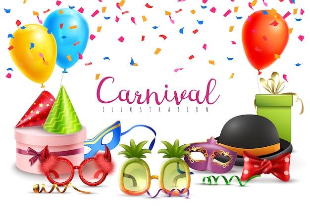 Karneval maskerade party hüte luftballons konfetti lustige farbige und geformte gläser Kostenlosen Vektoren