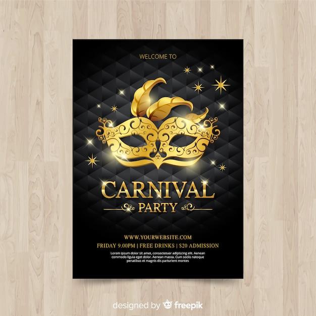 Karneval Party Flyer Vorlage Kostenlose Vektoren