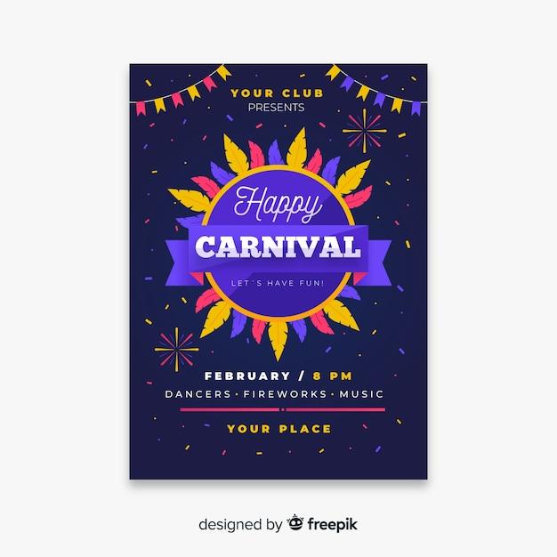Karneval party flyer vorlage Kostenlosen Vektoren
