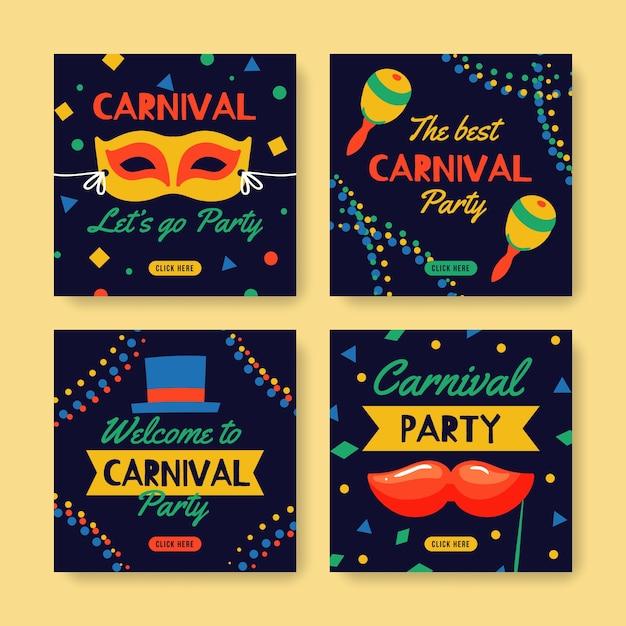 Karneval party instagram beitragssammlung Kostenlosen Vektoren