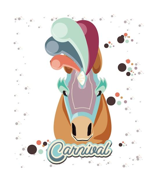 Karneval pferd vintage symbol vektor-illustration design Premium Vektoren