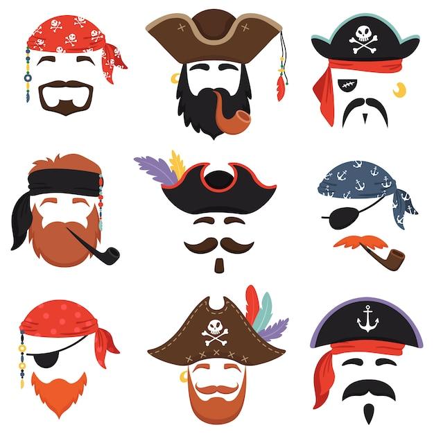 Karneval piratenmaske Premium Vektoren