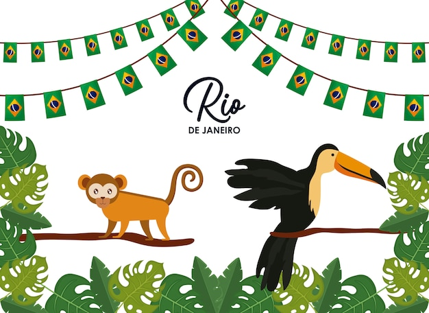 Karneval rio janeiro karte mit exotischen tieren Premium Vektoren