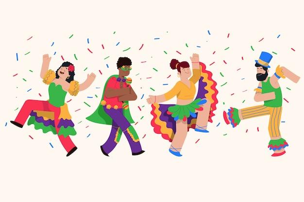 Karneval tänzer sammlung illustration Kostenlosen Vektoren