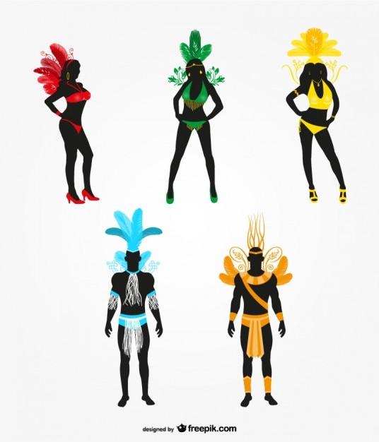 Karneval tänzerin silhouette Kostenlosen Vektoren