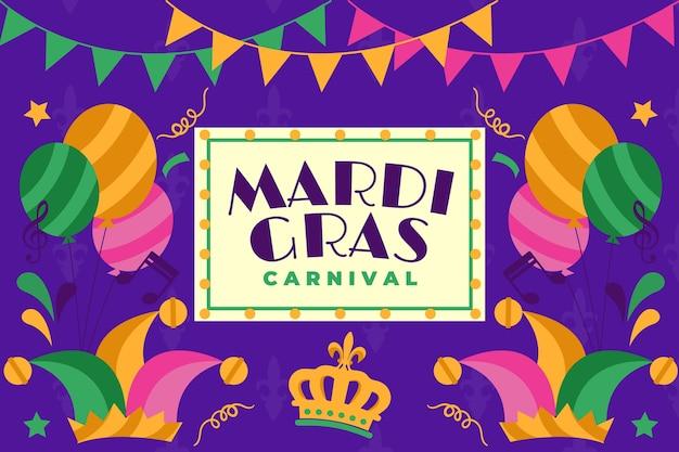 Karnevalereignis mit girlanden und bunten ballonen Kostenlosen Vektoren