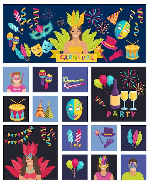 Karnevals-ikonen-flaches vektor-illustrations-zusammensetzungs-plakat Kostenlosen Vektoren