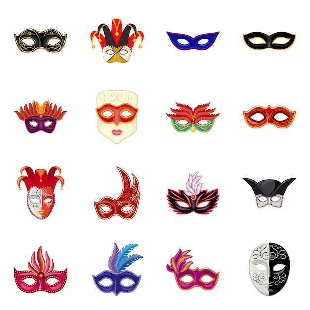 Karnevals- und theatersymbol. set karneval und geheimnis Premium Vektoren
