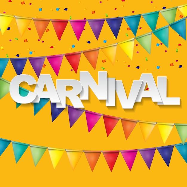 Karnevalsbanner mit flaggenfahnen und fliegenden luftballons. illustration Premium Vektoren