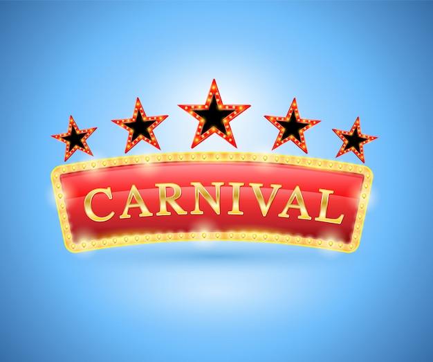 Karnevalsbanner retro-stil mit fünf sternen Premium Vektoren