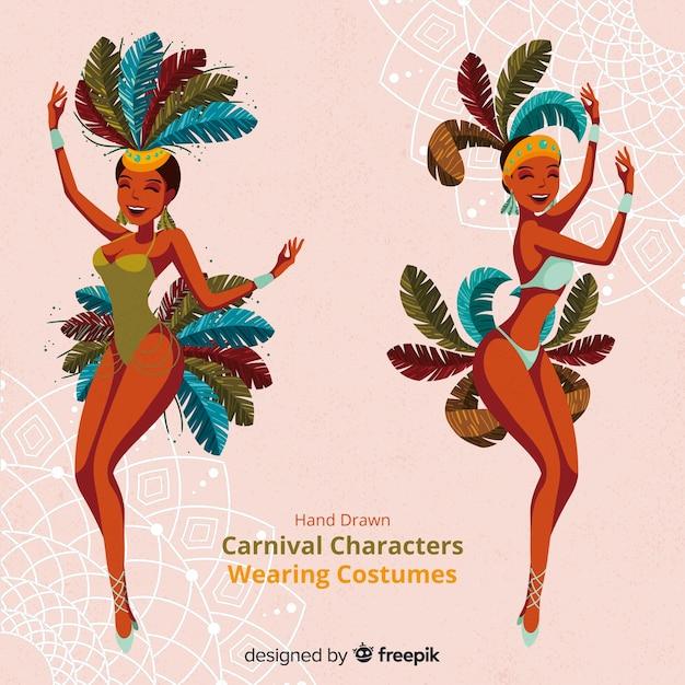 Karnevalsfiguren in kostümen Kostenlosen Vektoren