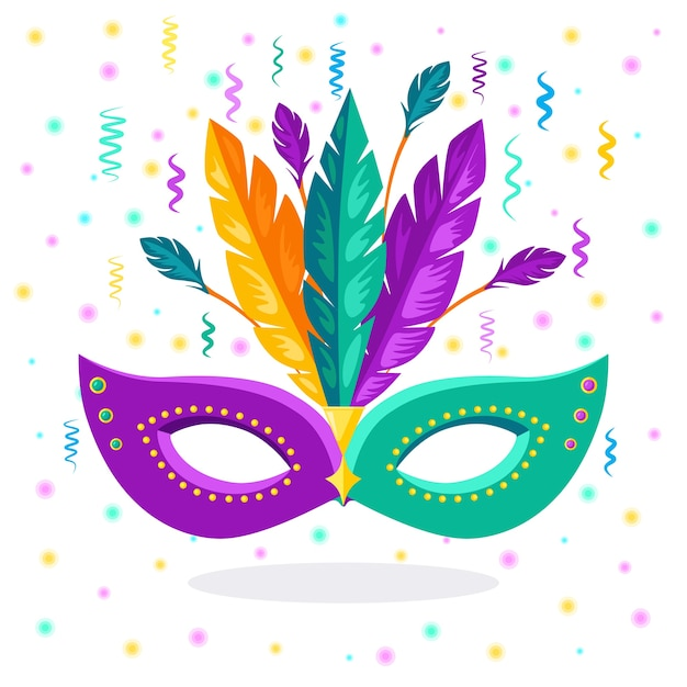 Karnevalsmaske mit federn kostümzubehör für partys. mardi gras, festivalkonzept von venedig. Premium Vektoren