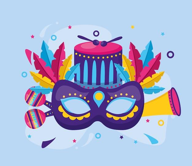 Karnevalsmaske trommelfedern Kostenlosen Vektoren