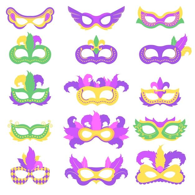 Karnevalsmaskenbündel für festival-karneval Premium Vektoren