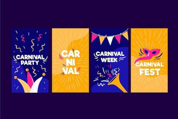 Karnevalspartei instagram geschichtenansammlung Kostenlosen Vektoren