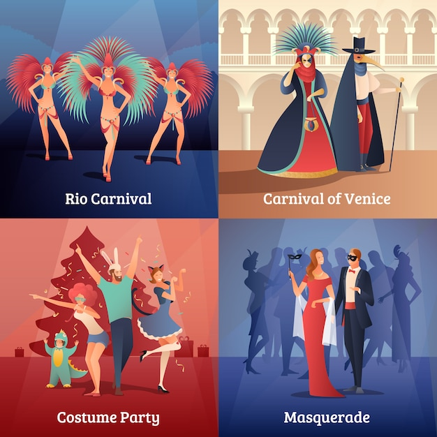 Karnevalsparty-konzeptikonen eingestellt Kostenlosen Vektoren