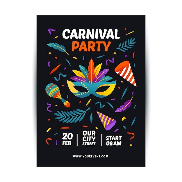 Karnevalsparty-plakatschablone mit bunter maske Kostenlosen Vektoren