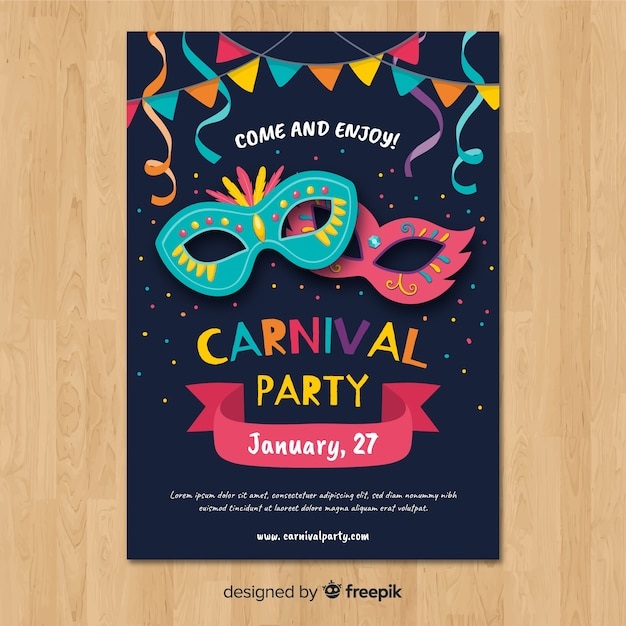 Karnevalsparty poster tempalte Kostenlosen Vektoren