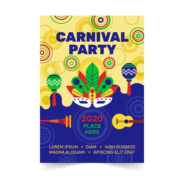 Karnevalspartyflieger im flachen design Kostenlosen Vektoren