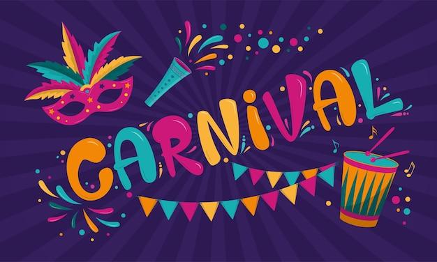 Karnevalsplakatdesign mit maske, girlande und trommel Premium Vektoren