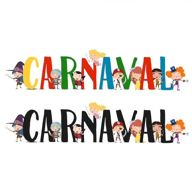 Karnevalstext mit kostümierten charakteren Premium Vektoren