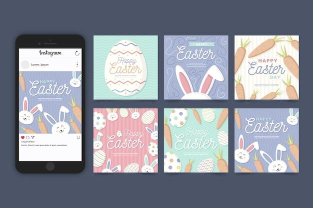 Karotten und kaninchen ostern instagram beitragssammlung Kostenlosen Vektoren