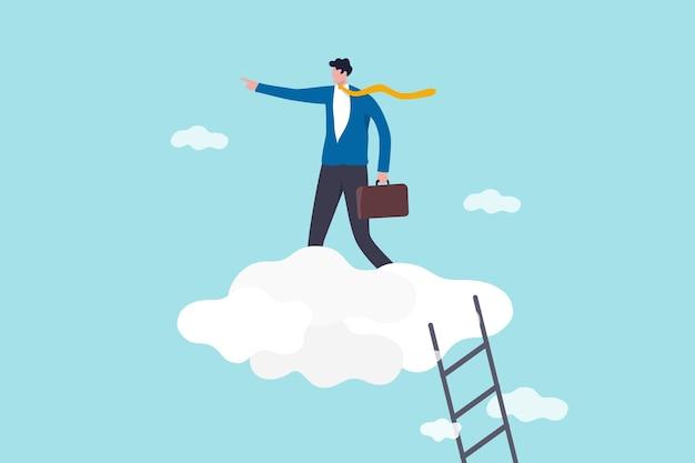 Karriereentwicklung, führungsposition, führungsvision, erfolgskonzept der geschäftsstrategie, vertrauen des geschäftsführers, der die treppe zur hohen cloud hinaufsteigt, um das unternehmen in die richtige richtung zu führen Premium Vektoren