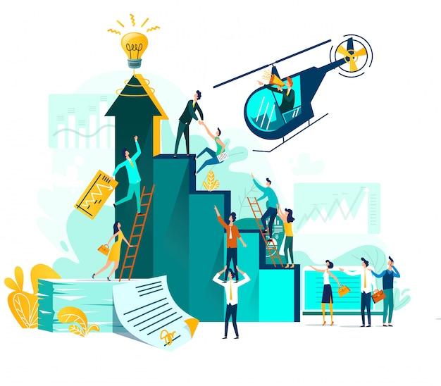 Karrierewachstum und zusammenarbeit bei der entwicklung von projekt, idee, leiter mit lautsprecher im hubschrauberflug Kostenlosen Vektoren