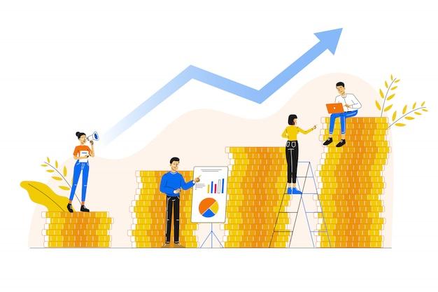 Karrierewachstum zum erfolg Premium Vektoren