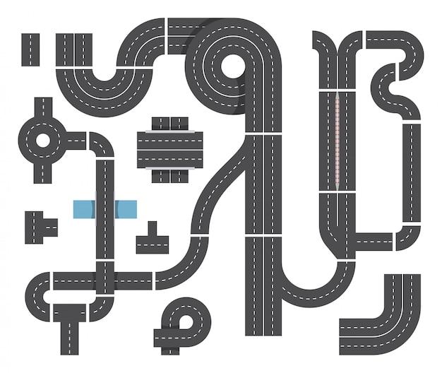 Karte aus verschiedenen fragmenten der stadtstraße. autobahnverkehr, kreuzung und autos. draufsichtvektorsatz Premium Vektoren
