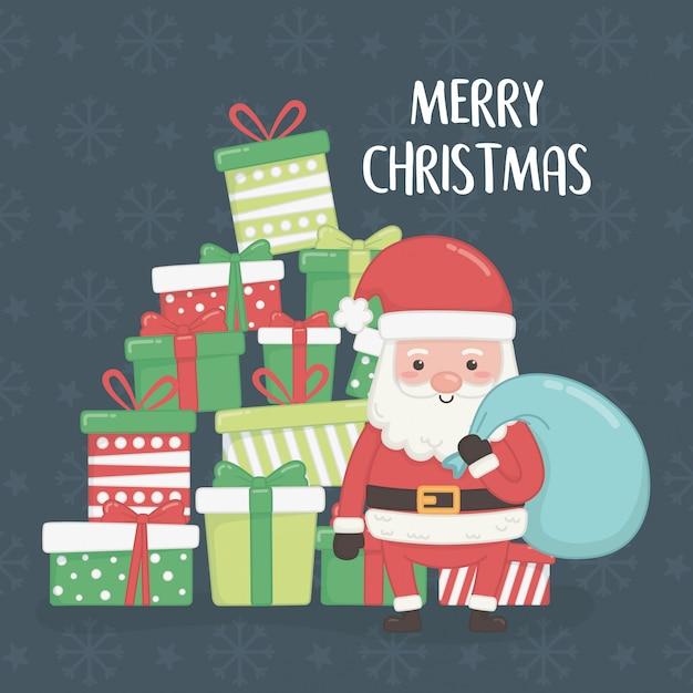 Karte der frohen frohen weihnachten mit weihnachtsmann und geschenken Premium Vektoren