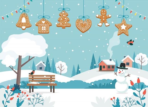 Karte der frohen weihnachten mit netten landschafts- und hängenden lebkuchenplätzchen. Premium Vektoren