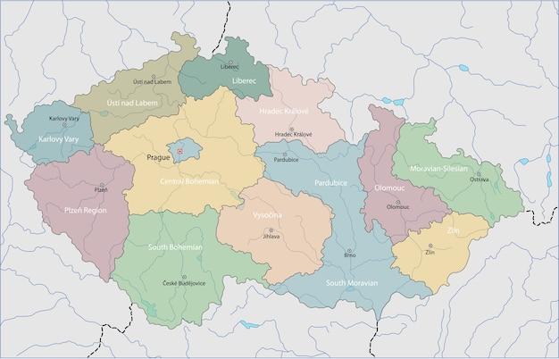 Karte der tschechischen republik Premium Vektoren