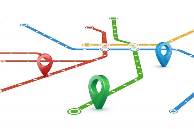 Karte der u-bahn-routen und zeiger Premium Vektoren