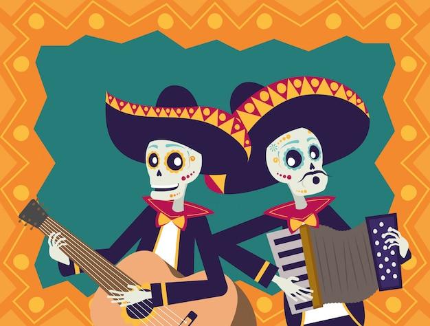 Karte durchmessers de los muertos mit den mariachisschädeln, die gitarre und akkordeon spielen Premium Vektoren