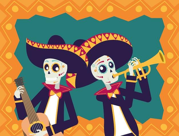 Karte durchmessers de los muertos mit den mariachisschädeln, die gitarre und trompete spielen Premium Vektoren