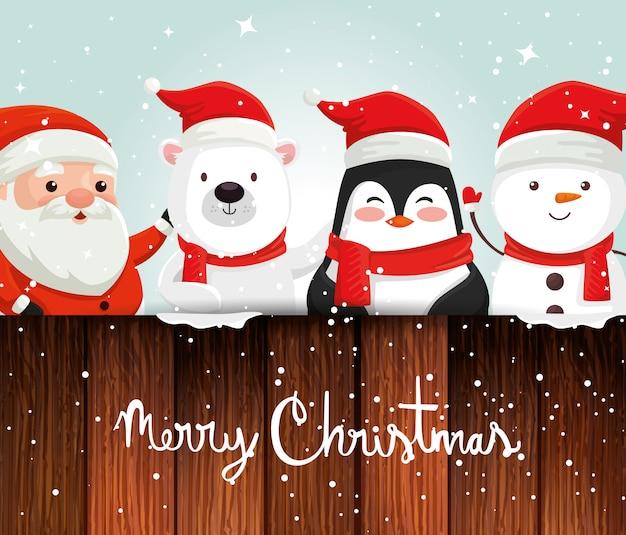 Karte mit charakteren weihnachten und dekoration Premium Vektoren